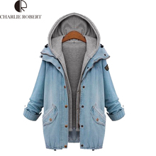 Winter Jackets 2016 Fashion New Women Long Sleeve Hooded Loose Denim Coats Two-Piece Cowboy Coat Jean Jackets Plus Size M-4XL