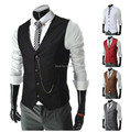 2015 new spring Men metal chain decoration business casual vest  Fashion Slim Fit colete Coat vest