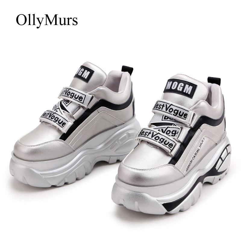 Женская обувь белого цвета; брендовые кроссовки на платформе; zapatos de mujer; сезон весна; Новинка; chaussures femme; женские кроссовки серебристого цвета|Кроссовки и кеды|   | АлиЭкспресс