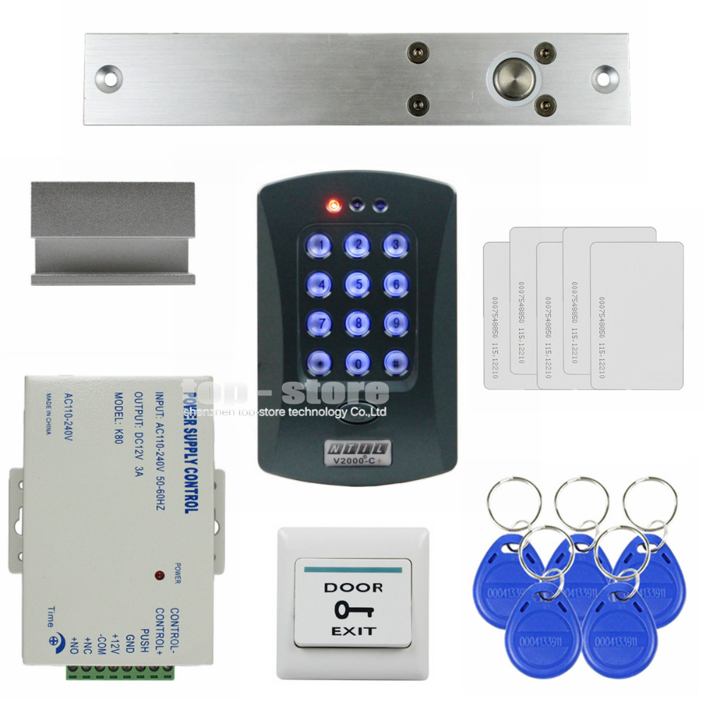 DIYSECUR 125KHz RFID Password Keypad Access Control System Security Kit + Electric Bolt Lock + Exit Switch V2000-C diysecur electric bolt lock 125khz rfid password keypad access control system security kit door lock remote control ks158