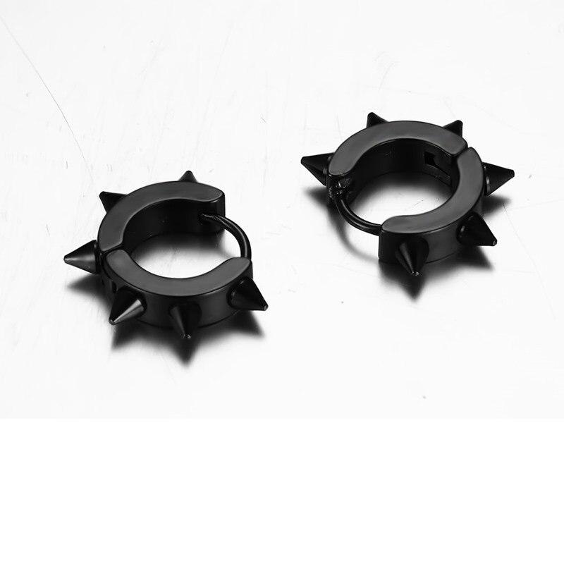 SHUANGR New Black Punk Men Earrings for Star Black Pointed Cone Rivet Stud Earrings Stainless Steel Hiphop Jewelry For Women