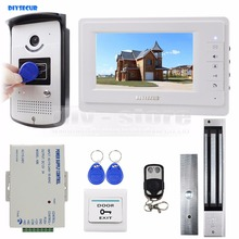 DIYSECUR 7 inch Video Door Phone Entry System 700TVL Camera Monitor Magnetic Lock RFID Keyfob Remote Control Unlock 1V1