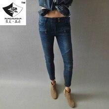 HDP020 женская мода Тонкий штуцер колено сложите ноги рот молнии джинсы брюки вышивка джинсы/4 размер