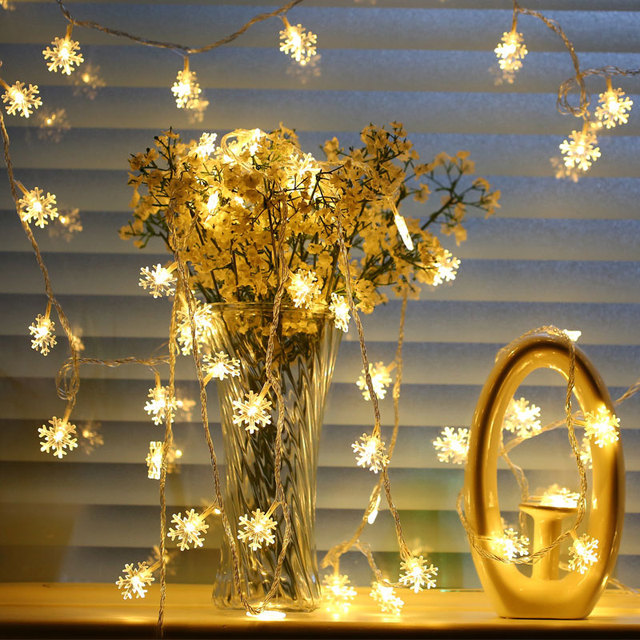 DVOLADOR 9.5M 100LED Snowflake holiday lights home Decoration Christmas Lights Fairy Curtain String Lamp for Wedding Party light