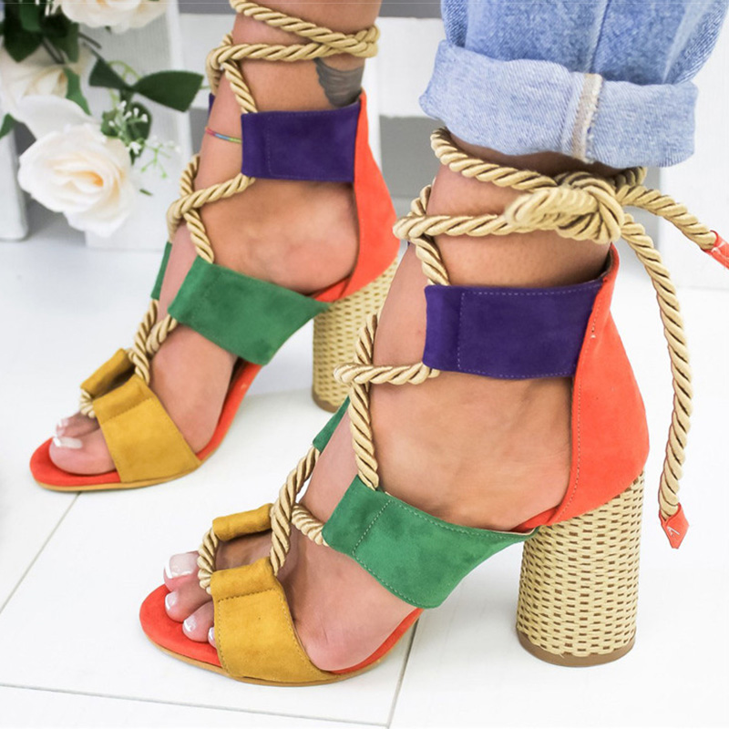 Women Sandals Wedge Espadrilles Summer Shoes Woman 7CM High Heels Sexy Gladiator Women Heels Sandals Lace Up Platform Sandals