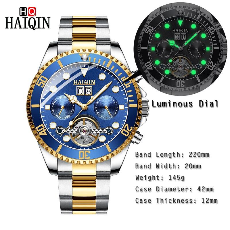 HAIQNI męska zegarki zegarka mężczyzna maszyn mężczyźni luksusowe złoty zegarek ze stali nierdzewnej wodoodporny zegar Relogio Masculino w Zegarki mechaniczne od Zegarki na  Grupa 2