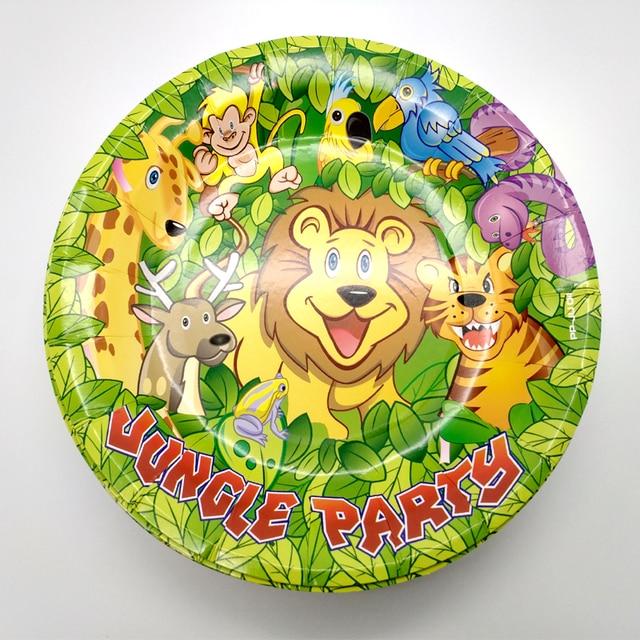 10 pçs/lote Placas de Favores Do Chuveiro Do Bebê Crianças Dos Desenhos Animados Animal Da Selva Decorar Pratos Talheres Descartáveis de Papel da Festa de Aniversário do Leão