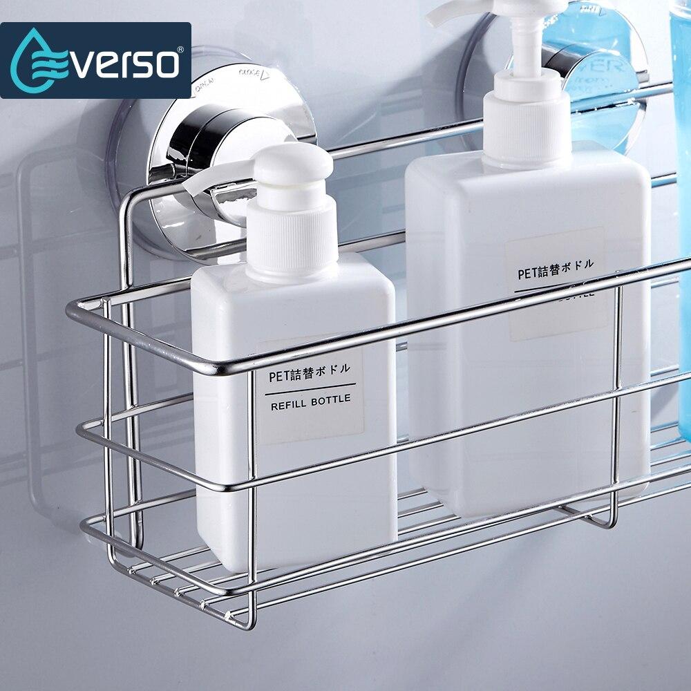 everso acciaio inossidabile forte aspirazione mensola a muro bagno doppia doccia ventosa cestino bagno cestino accessori