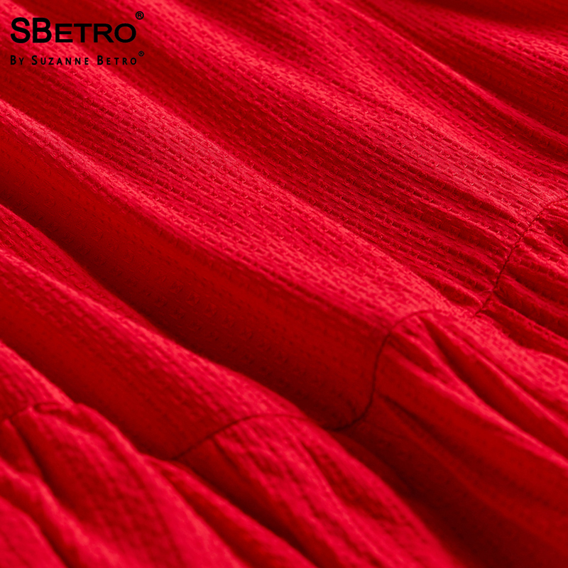 Sbetro Rosso Delle Casual Ginocchio Tier Betro Ruffle Donne Suzanne Signore Di Partito Natale Lunghezza Tessuto Da Red San Vestito Vestiti Valentino Strutturale Del rXqzxwarZ