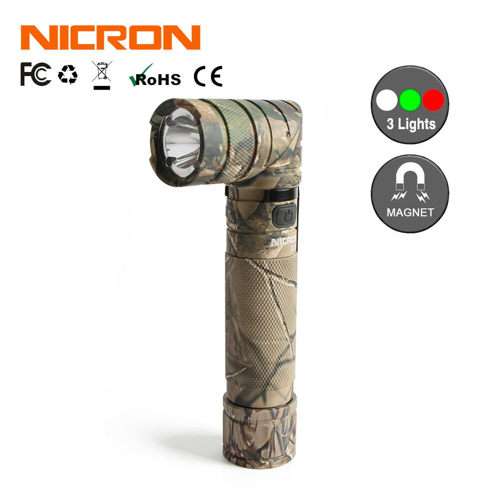 NICRON Camo faire Tourner la Lampe En Plein Air 3 Couleur Lumière Mains Libres Avec Aimant 18650 Rechargeable 950LM 90 Degré LED Torche B70 Plus