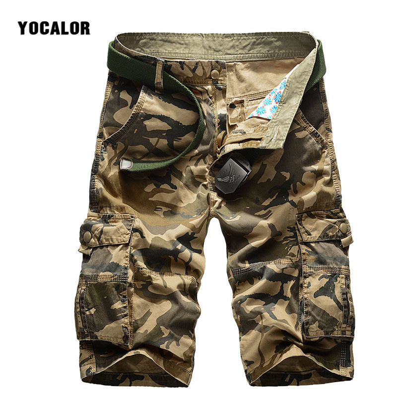 Camo Casual Shorts Pure Cotton Camouflage Work Male Pocket Hip Hop Streetwear Trousers Men Sweatpants Military Joggers Army