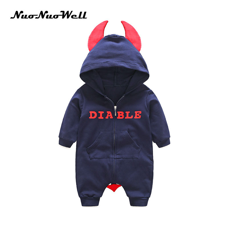 NuoNuoWell Funny Clothing Warm Baby Rompers Jumpsuits Autumn Cute Horn Hodded Infant Baby Romper Cotton Newborn Infant Clothes 0 12m autumn cotton baby rompers cute cartoon clothing set for baby boys infant girls clothes jumpsuits foot coveralls romper
