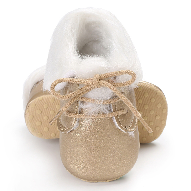 Raise Young PU Leather Winter Plus Velvet Warm Baby Booties Soft Soles Non-slip Newborn  ...