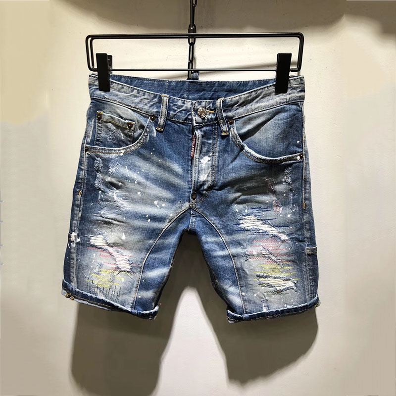 Verano nuevos hombres Stretch Slim corto vaqueros ajustados de Denim para hombre Pantalones cortos de algodón Casual Shorts Hip Hop pantalones cortos