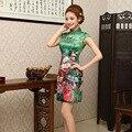 Женщины Грейс Китайское Традиционное Платье Короткое Лето Атласная Cheongsam Цветок Печатных Cheongsam Продажа Vestidos Chinos 18