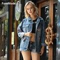 Foremode 2016 Corea Loose Jeans Blusa Chaqueta Insignia Chaqueta de Mezclilla Estilo mujeres imprimir chaquetas mujeres abrigos básicos