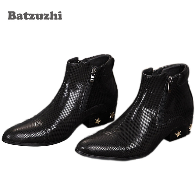 Batzuzhi Italian Style Black Man's Ankle Boots Pointed Toe Zipper Simple Elegent Men Boots Stars Decoration, EU38-46!