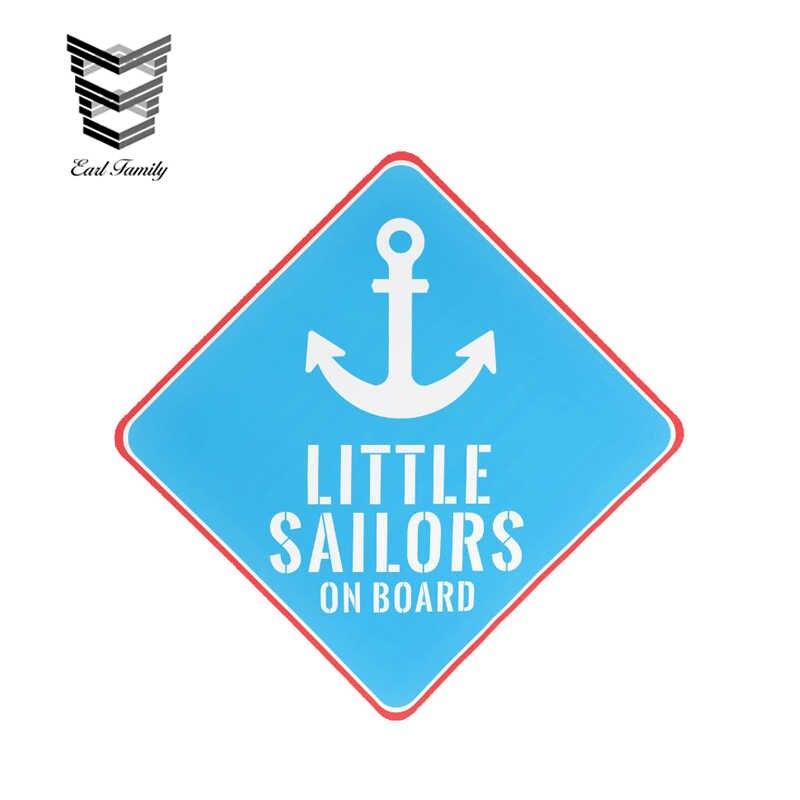 EARLFAMILY 12cm x 12cm pequeños marineros a bordo ancla coche pegatinas bebé a bordo viuda adhesivos de vinilo para coche accesorios de estilo