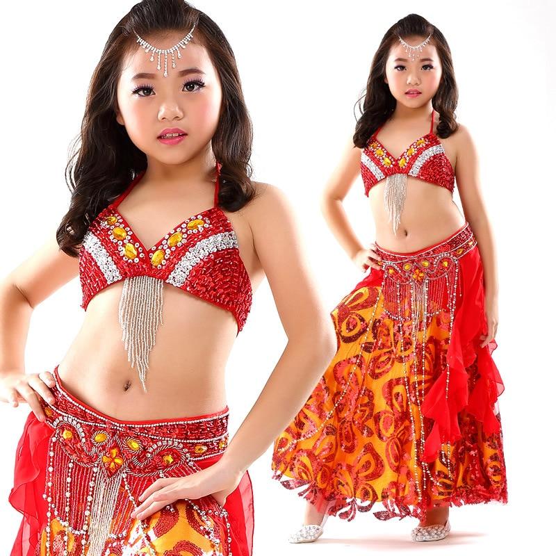 Children Belly Dance Costume Sets Kids India Dancing Dress girls belly dance costume Performance Cloth 3PCS/Set Bra+Belt+Dress