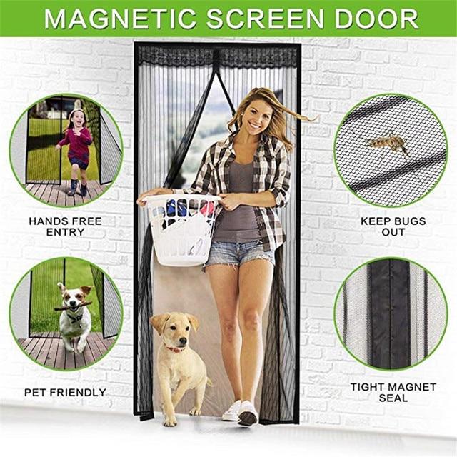 100210cm Magnetic Fly Screen Door Summer Ultra Seal Magnets Mesh