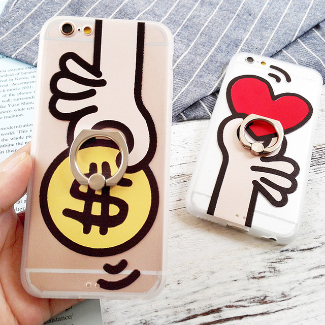 175293c289 Cute Cartoon Ring Stand Couple Phone Cases Coque Back Cover for iPhone 6s 6  Plus Stylish Heart Money Printed PC Hard Case Capa
