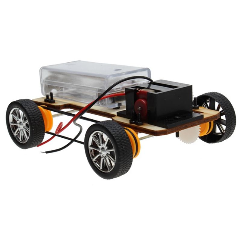 diy wooden four wheel drive electric car assembles model building kits toy christmas holiday gift for kids children