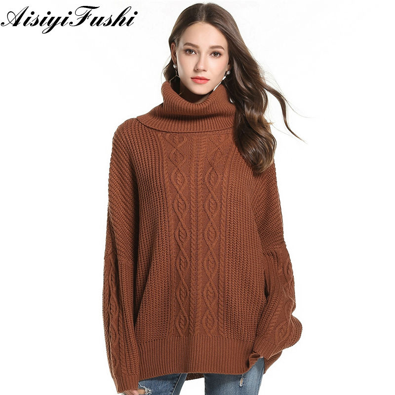 Women Casual Korean Pullover Sweater Knitted Winter Turtleneck Women Jumper White Oversized Sweater Loose Long Pull Femme 2018
