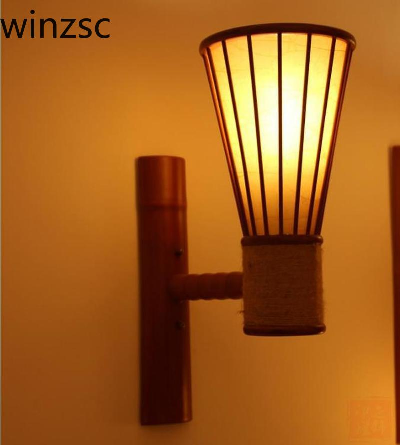 separation shoes 35148 ecc69 US $136.0 |Retro hotel Wall Lamp bar aisle lights Japanese bamboo wall  garden led lamp living room balcony porch stairs lamp LU823420-in Wall  Lamps ...
