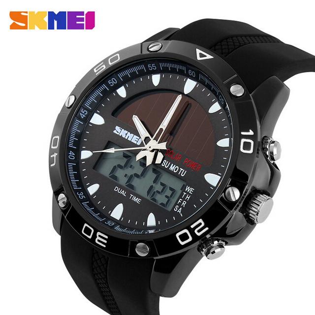 50 M Impermeable Solar Vigilantes Relojes Deportivos Relojes Militar Ocasional Al Aire Libre de la Energía Solar LED Digital de Cuarzo Reloj de Hora Dual