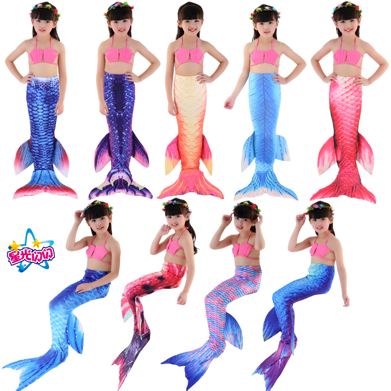 Envío gratis New Kids Girls Mermaid Tail Swimmable Bikini Set - Disfraces