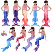 Envío gratis New Kids Girls Mermaid Tail Swimmable Bikini Set Swimwear Traje de baño 2018 New Children Bikinis Set 3Year-12Year