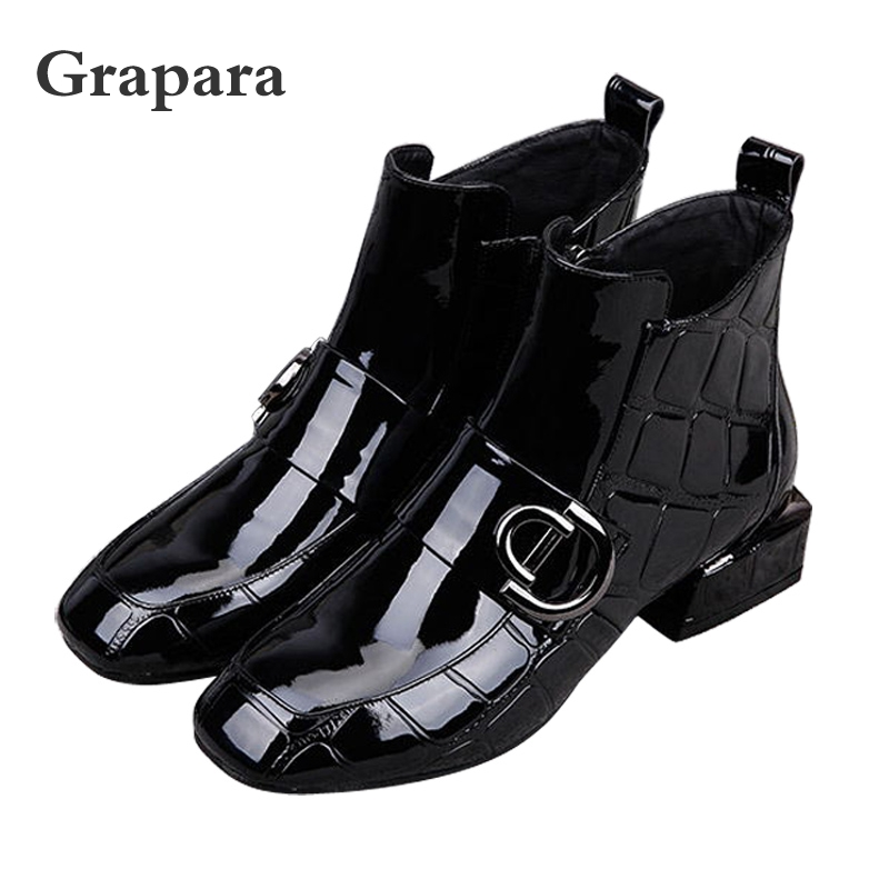 Women Boots Autumn Winter Plush Martin Boots Shoes High Heel Zip Square Toe New Sexy Fashion Patent Leather Ankle Boots GraparaWomen Boots Autumn Winter Plush Martin Boots Shoes High Heel Zip Square Toe New Sexy Fashion Patent Leather Ankle Boots Grapara