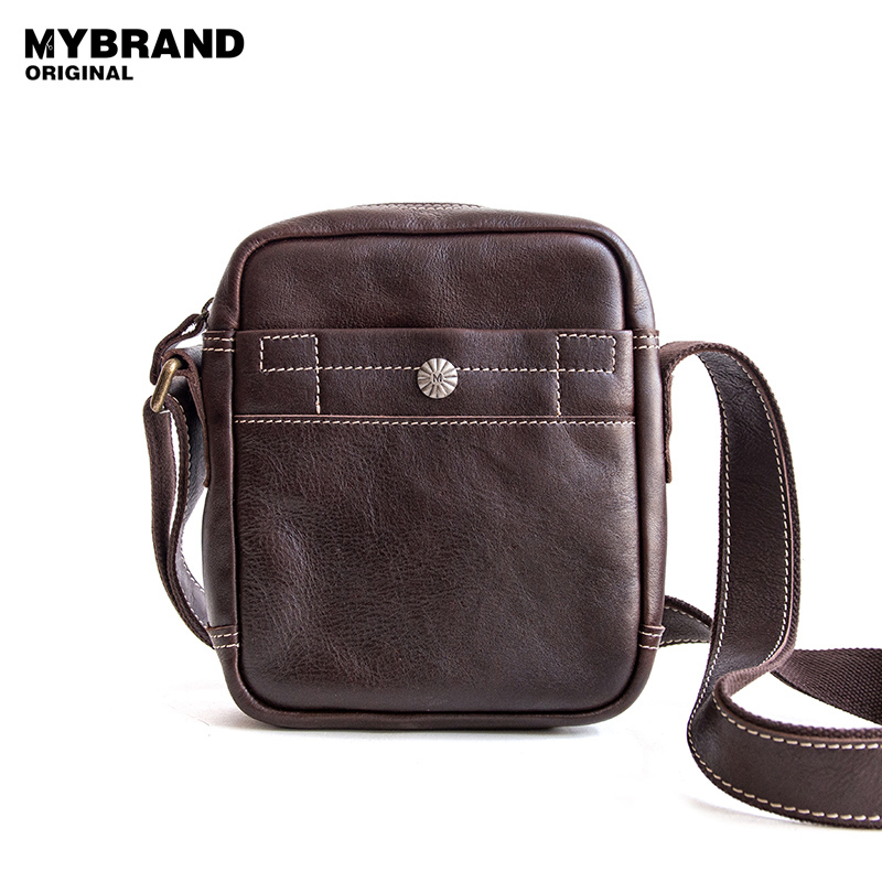 MYBRANDORIGINAL small genuine leather messenger bag fashion cow leather crossbody bag for man vintage men's shoulder bag B122