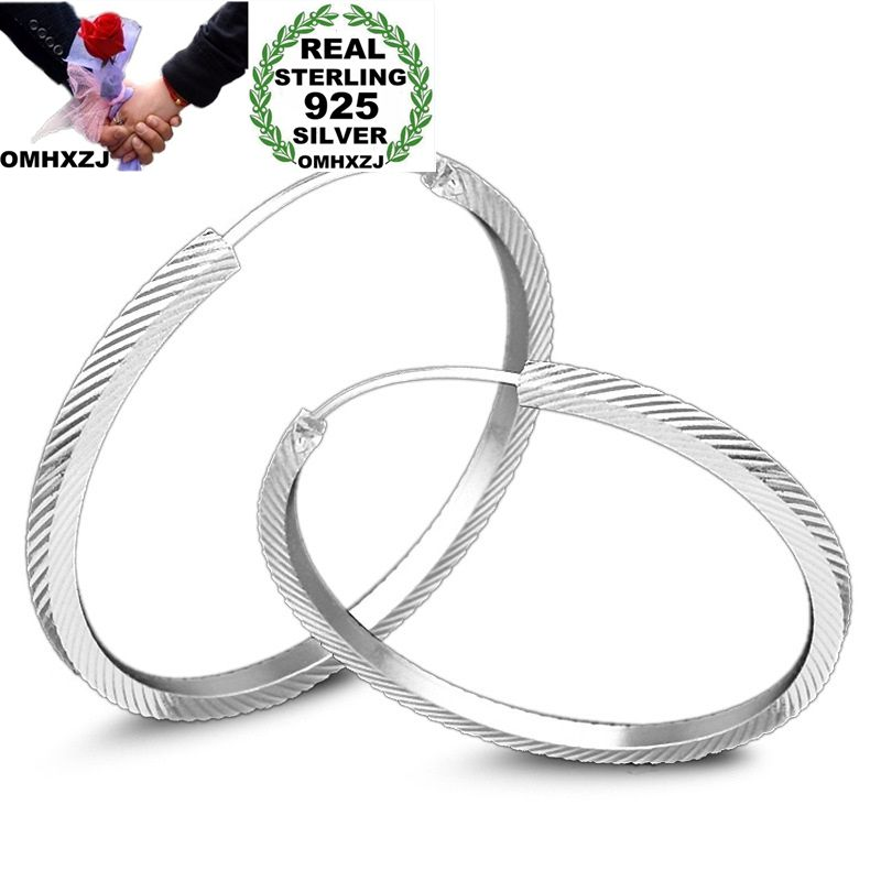 OMHXZJ Wholesale Personality Fashion OL Woman Girl Party Wedding White Round Twill 925 Sterling Silver Hoop Earrings YE427