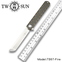 TwoSun d2 blade folding Pocket Knife tactical knives hunting knife survival tool EDC Titanium alloy bearings Fast Open TS67 Fire