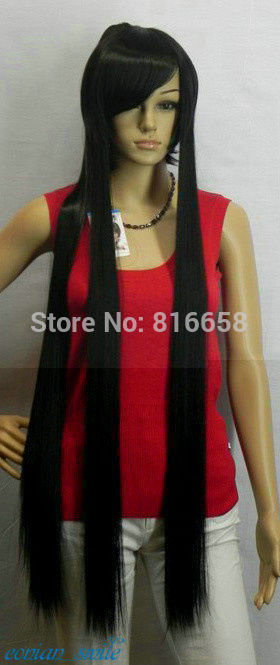 Type Wig Black 100cm Extra Long Straight Cosplay Wig with Ponytails TLD506
