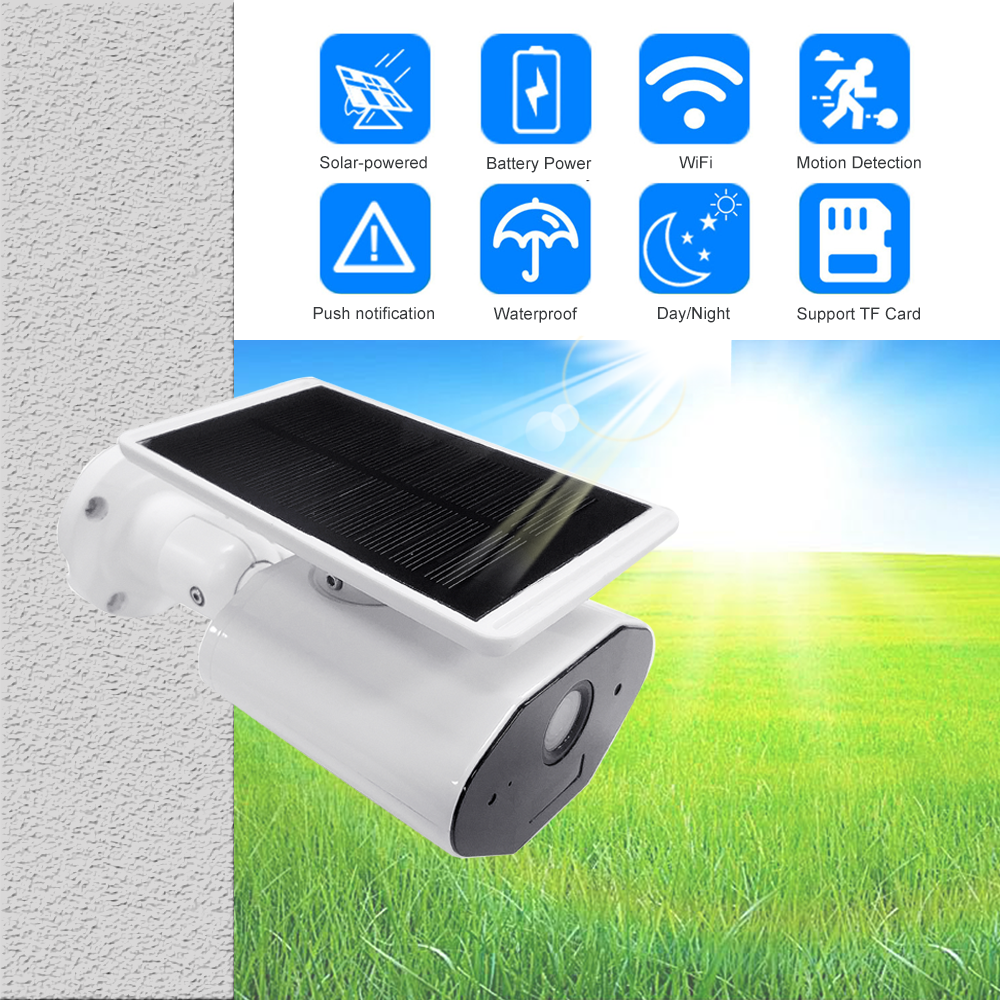 Outdoor Security IP Camera WIFI Wireless 1080P HD Solar Battery Power Surveillance CCTV Bullet PIR Alarm Audio Record TF Card-in Surveillance Cameras from Security & Protection