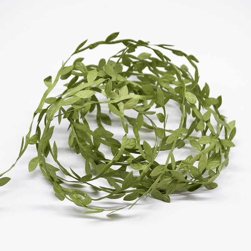 20 מטר משי עלה מלאכותי ירוק עלים קש DIY זר זר לחתונה קישוט מתנת רעיונות קרפט מזויף פרח
