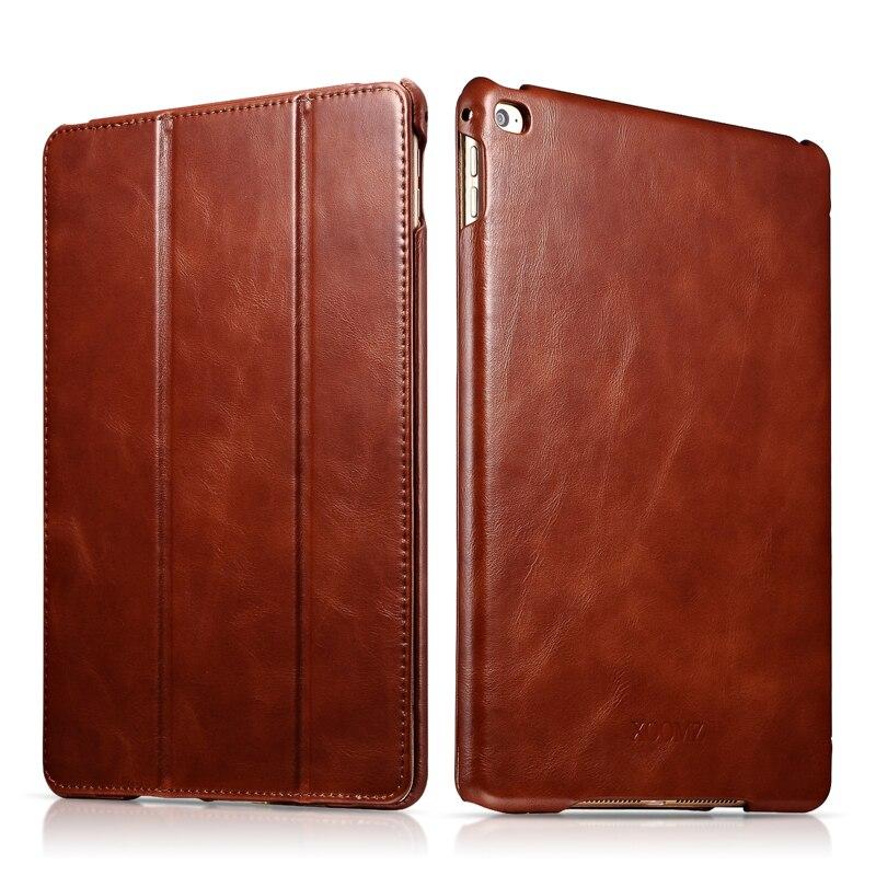 Original ICARER For iPad Air 2 Case Vintage Genuine Leather Flip Folio Smart Case For iPad