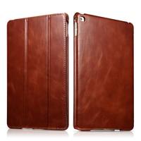 Original ICARER For iPad Air 2 Case Vintage Genuine Leather Flip Folio Smart Case For iPad Air 2 Cover Stand Auto Wake Sleep Bag