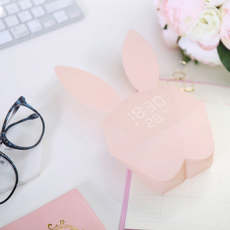 Digital Alarm LED Sound Night Light Thermometer Rechargeable Table Wall Clocks Cute Rabbit Shape Clock For Home Decoration