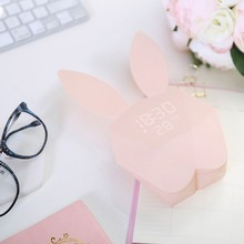 Digital Alarm LED Sound Night Light Thermometer Rechargeable Table Wall Clocks Cute Rabbit Shape Clock For