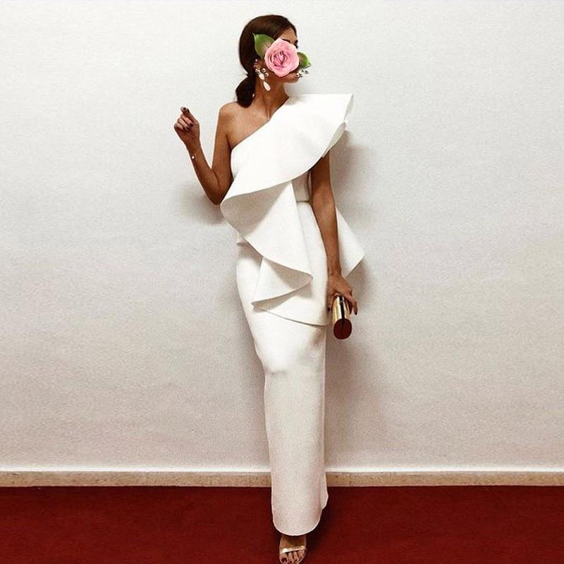 Formal Gown Vestido Longo   Evening     Dress   robe de soiree Stunning Elegant Long   Evening     Dresses   Straight Ruffles abiye 2019