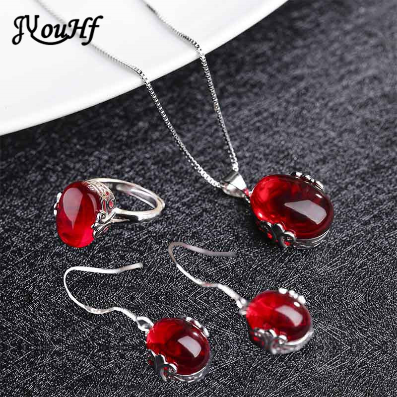 JYouHF Mode Red Korundum Batu Set Perhiasan Oval Berbentuk Kalung - Perhiasan fashion - Foto 1