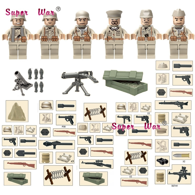 6pcs British Army World War Military Gun Weapon Soldier weapons building blocks model bricks Baby toys