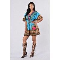 Fashion Design Traditional African Print Dress V Neck Dashiki Styles Short Dresses For Women Vintage Kaftan