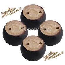 Patas redondas de madera de roble de 8x8x5cm, patas de madera de eucalipto negro, 100kg de peso de rodamiento para sofá, armarios, mesas, cama, Juego de 4