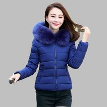 2016 Winter Women Thicken Removable Fur collar Hooded Down jacket Brief paragraph Big yards Small Cotton-padded clothes G1593