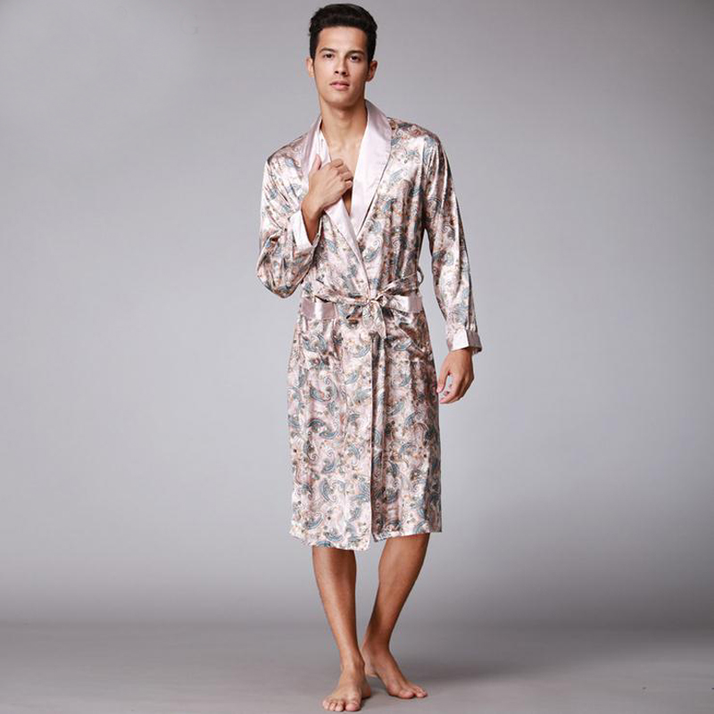Clever Khaki New Arrival Male Silk Kimono Bath Robe Gown Chinese Mens Rayon Nightwear Turn-down Collsr Sleepwear Loose Leisure L-xxl Moderate Cost Men's Sleep & Lounge
