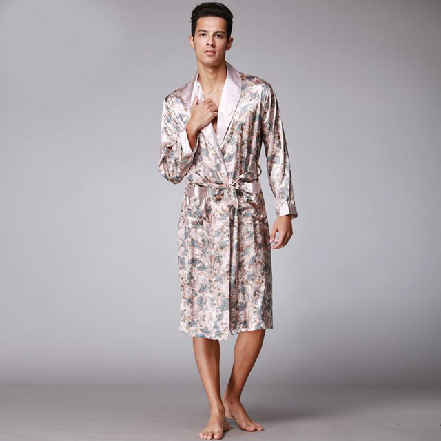 Khaki New Arrival Male Silk Kimono Bath Robe Gown Chinese Men s Rayon  Nightwear Turn-Down Collsr Sleepwear Loose leisure L-XXL f17606618